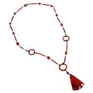 Czechoslovakia 1900's Red Glass Necklace