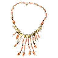 Czechoslovakia Art Deco Enamel/Coralcolored Glass Necklace