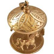 Vintage 14k Gold Moving Carousel Charm