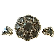 West Germany Pin and Earrings Set
