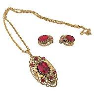 West Germany - Filigree Necklace & Earrings Demi-parure