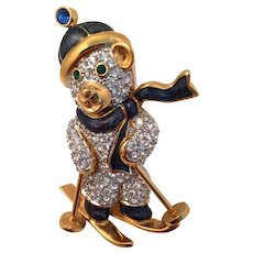 Swarovski Skiing  Bear Pin