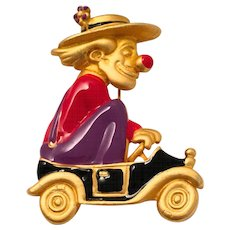 Danecraft Enamelled Clown in Minicar