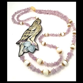 Parrot by Lee Sands - Inlaid Shell Necklace