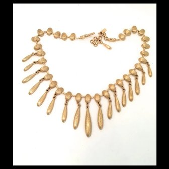 Early Monet Necklace in Brushed Gold Color Metal