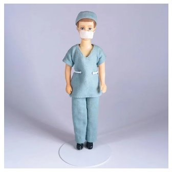 Flocked Ken Doll Clone in Surgeon Outfit