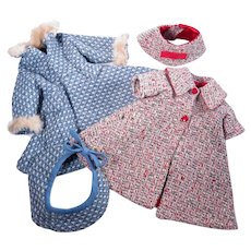 """Vintage Handmade Coats with Matching Hats 18 - 20"""" Fashion Dolls"""