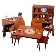 Danish Modern Dining Room Set for Barbie, Ginny, Cissette