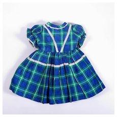 Vintage Plaid Taffeta Dress for Larger Dolls