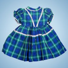 Vintage Plaid Taffeta Dress for Larger Dolls