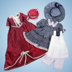 Vintage Handmade Victorian Style Outfits for Small Dolls