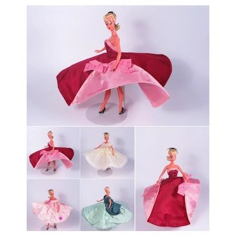 """Rare 1950's Custom Made Vintage Formal Gown for the 7 1/2"""" German Bild Lilli Doll"""