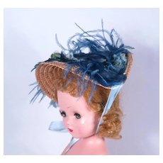 Straw Bonnet with Gorgeous Vintage Millinery Adornments