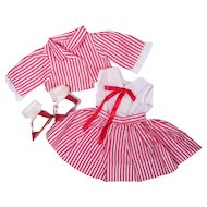 1950's Red and White Outfit for Medium Sized Dolls