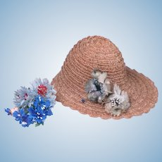 Vintage Hat with Replacement Flowers