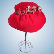 Beautiful Red Velvet Hat by Madame Alexander