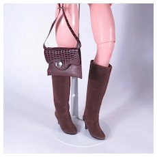 Brown Suede Boots and Vintage Purse For Cissy