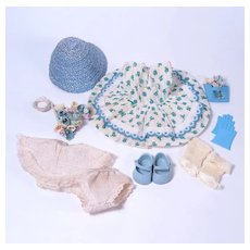 Muffie 1954 Blue Rosebud Dimity Collage Dress with Accessories