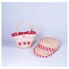 Vintage 1950's Premier Straw Hat and Purse