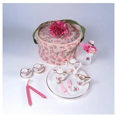 Vintage Miniature Rose Tea Set and Hat Box