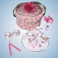 Vintage Miniature Rose Tea Set and Hat Box