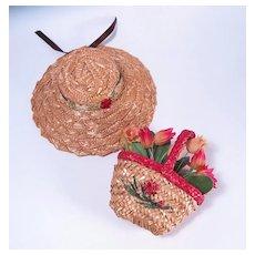 Vintage Straw Hat and Basket Purse