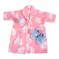 Eiderdown Robe and Wool Felt Shoes for Large Baby Dolls