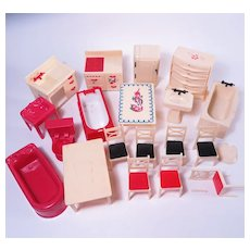 Renwal Doll House Furniture Red Version