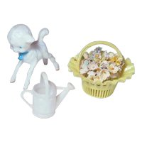 Vintage Watering Can, Lamb and Basket of Flowers for Ginny by Vogue