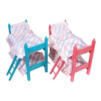 Vintage Ginny Size Bunk Beds with Original Bedding
