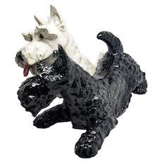 "Large 15"" Goebel Black & White Scottish Terriers Figurine Porcelain Dog Scottie"