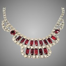 Sweetheart  Red Rhinestone Bib Necklace