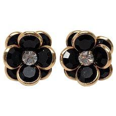 Swarovski Classic Crystal Black Bezel Set and Rhinestone Pierced Earrings