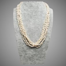"""White Fresh Water Rice Pearl, Graduated 6-Strand Necklace with 14K Clasp, 21"""""""