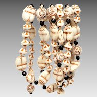 MAX NEIGER 1920's Art Deco Egyptian Revival Scarab glass Bead Necklace