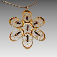 1970's Large Filigree and Rhinestone Flower pendant