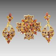 Amber colored Rhinestone Maltese Cross brooch and Drop Clip Earrings signed