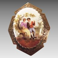 Vintage brass brooch porcelain painted portrait