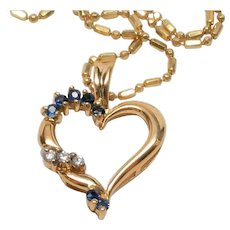 Vintage Heart Sapphire  Diamond Necklace 14K  Gold Estate ITALY