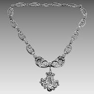Rare Sterling Danecraft Art Nouveau style flower filigree drop necklace