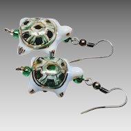Porcelain painted Turtle hook earrings