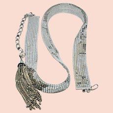 Beautiful shiny silver tone mesh belt
