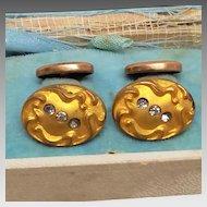 Art Nouveau  gold covered ladies Cufflinks