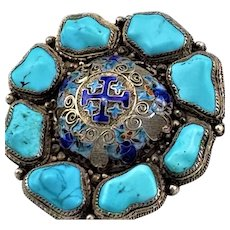 1920's Chinese Silver Turquoise and Enamel Maltese Filigree Brooch Pin