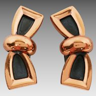 Renoir Copper Modernist Bow Design Clip Earrings
