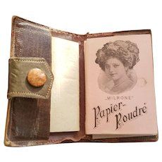 Milrone Powder Papers in Leather Case  Papier Poudre'