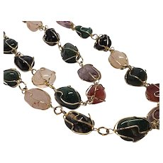 Caged Multi-Gemstone Necklace 28 Inches Long Jade, Carnelian,onyx.Amethyst,Quartz