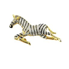 Stunning Silver and Gold Tone Figural Zebra Pin Brooch