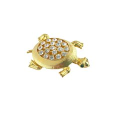 Vintage JJ Jonette Jewelry Rhinestone Turtle Brooch