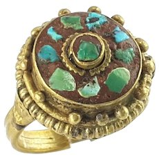 OLD Tibetan Turquoise and Brass Ring size 6.25